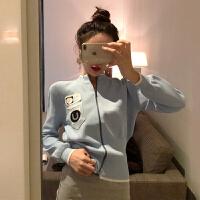 小香风2019春装新款时尚针织衫开衫拉链长袖毛衣短款外套女上衣潮