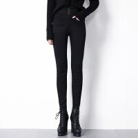 加绒加厚牛仔裤女冬季2018新款韩版显瘦高腰长裤外穿黑色小脚裤子