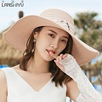 帽子女夏天遮阳帽大沿沙滩帽防晒可折叠凉帽女夏季草帽