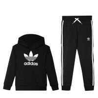 Adidas阿迪达斯三叶草男童装2019春季新款运动休闲服套装4-10岁小童DV2847