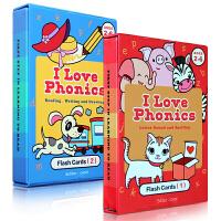 顺丰包邮 I Love phonics L1-2 英文原版书绘本 自然拼读幼儿启蒙认知学习字词卡闪卡英语0-2-3-4
