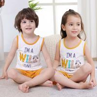 宝宝家居服睡衣男童女童短裤小孩无袖两件套夏季儿童棉背心套装