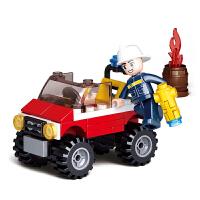 小鲁班积木小汽车6-12拼装男孩五六岁智力10消防车玩具小号救援车