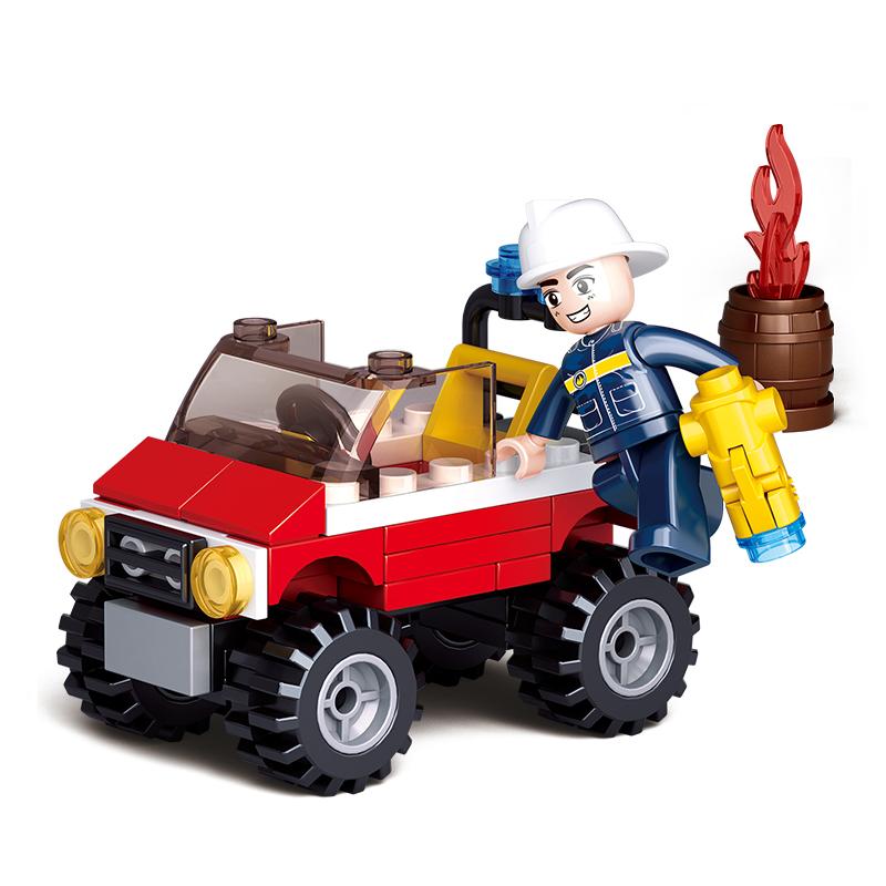 小鲁班积木小汽车6-12拼装男孩五六岁智力10消防车玩具小号救援车 促销大优惠~有任何问题请先联系客服哦~