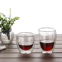 进口双层隔热玻璃杯子耐热透明创意水杯咖啡杯饮料杯