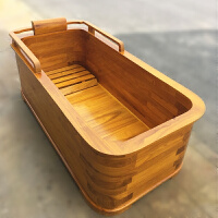 橡木泡澡木桶加厚方形浴缸沐浴桶木质洗澡浴桶实木泡澡美容院