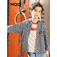 MQD童装男童长袖衬衫2019春秋新款上衣中大童韩版格纹格子衬衣潮