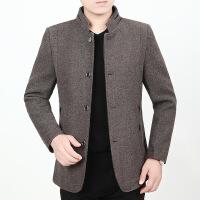秋冬季新款夹克男休闲修身毛呢外套男装加厚中年男士爸爸外套
