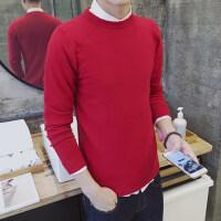 韩版男士冬季上衣线衫修身圆领长袖打底衫毛衣针织衫加厚男装黑色