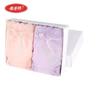 2条装 金丰田女士性感莫代尔平角裤 女式蕾丝花边内裤2028