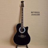 新款新手入门初学黄家驹黄贯中41寸单板民谣吉他葡萄孔龟背电箱木吉它模型