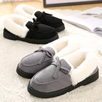 棉拖鞋女包跟厚底保暖可爱蝴蝶结室内毛绒拖鞋冬月子棉鞋外穿