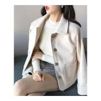 套装女秋冬新款双面呢子大衣毛呢外套高腰显瘦格纹A字半身裙