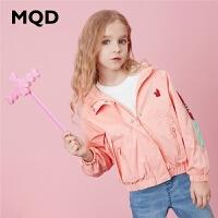 MQD童装女童连帽外套2020春装新款儿童绣花落肩洋气休闲运动外套