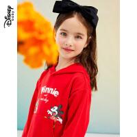 【3件4折券后预估价:86】迪士尼女童连衣裙2021春装新款童装洋气拜年服儿童宝宝红色裙子