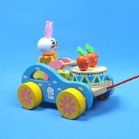 拖拉学步木质玩具制作小孩拉车儿童小拖车宝宝拉线玩具小敲鼓车 木质拖拉敲打兔1个【颜色随机】