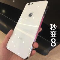 iphone6手机壳镜面玻璃6plus后钢化6p女款sp男ip黑苹果6s六个性创意i6了ipone