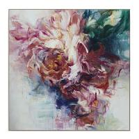 手绘抽象富贵牡丹花油画现代简约花卉装饰画欧式客厅卧室玄关壁画 尺寸可订制 白色外框