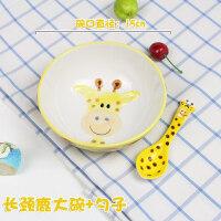【优选】可爱健康儿童碗韩式卡通手绘釉下彩小动物5寸陶瓷碗勺套装