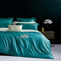 水星出品 百丽丝家纺 国风刺绣60s全棉四件套1.5米/1.8米素色长绒棉轻奢套件纯棉床单被罩床上用品 福美如意