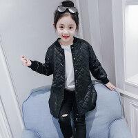 儿童皮衣女童秋冬季皮衣外套2018新款洋气儿童加厚棉衣女孩pu皮大衣冬装潮ZQ68蓝