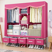 衣柜简易布衣柜简约现代经济型钢管加粗加固组装布艺钢架衣橱ZD定制 单门