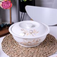 日式创意 个性可爱陶瓷大碗 家用圆形汤锅带盖汤碗 泡面碗拉面碗大号 花 汤锅