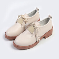 女鞋2019新款春季单鞋女韩版小皮鞋女学生韩版百搭粗跟高跟鞋子女