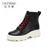 Daphne/达芙妮冬新款潮流系带中跟迪士尼合作款短靴女