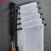 太空铝浴室置物架壁挂毛巾杆浴巾架卫生间毛巾架可旋转多杆免打孔