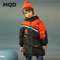 MQD童装儿童中长款卡通连帽工装保暖加厚羽绒服20冬新款男童90绒