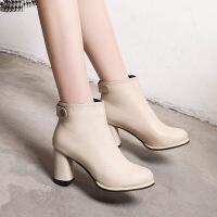 秋冬款高跟粗跟圆头后拉链韩版女鞋短靴英伦马丁靴欧美女鞋子