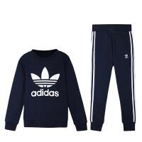 Adidas阿迪达斯三叶草男童装2019春季新款运动休闲服套装4-10岁小童CF8512