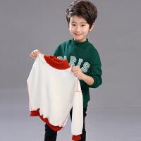 童装男童加绒卫衣秋冬装2018新款儿童加厚保暖中大童半高领打底衫