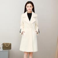 仿毛呢外套2018新款冬季韩版显瘦加厚毛毛绒呢子大衣女中长款