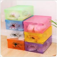 韩国创意透明加厚塑料鞋盒 DIY抽屉式多功能彩色收纳盒
