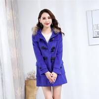 ES秋冬新款女装韩版修身小个子风衣女大码中长款毛呢外套
