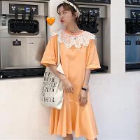 三木子快时尚女装~拼接蕾丝领长款连衣裙