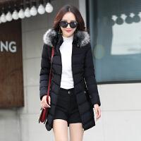 羽绒女冬2018新款韩版修身轻薄显瘦中长款外套休闲短款棉袄潮 黑色 中长款