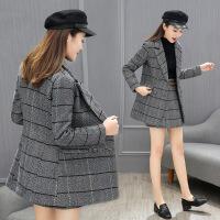 秋冬季连衣裙女装新款气质名媛小香风格子短裙子西装两件套装