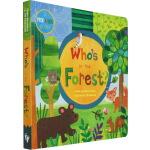 Who's in the Forest? 英文原版 谁藏在森林里 绘本纸板书 大开本躲猫猫洞洞书 Barefoot