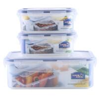 乐扣乐扣 普通型长方形塑料保鲜盒3件套装 冰箱收纳 HPL817S001 半透明