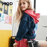 MQD童装女童牛仔外套2020春装新款儿童绣花落肩洋气宽松外套女