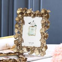 欧式美式复古金色叶子6寸婚纱照挂墙 现代创意相框摆台画框装饰