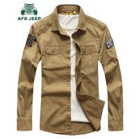 战地吉普AFS JEEP男装休闲衬衫 春秋长袖工装衬衣男 男士时尚水洗纯棉长袖衬衫