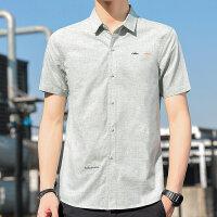 夏 男士 刺绣短袖衬衫