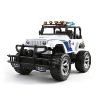 可充电遥控警车悍马玩具车带灯光音乐1:12遥控越野车儿童生日礼物5-6岁 自然白33CM(警笛警灯) 两块充电电池