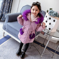 女童棉衣冬装2018新款韩版中大童儿童洋气棉袄中长款加厚外套棉服