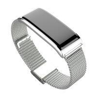 池古 智能手环 新款金属钢带心率监测智能手环蓝牙防水计步运动手环 C9 Plus银