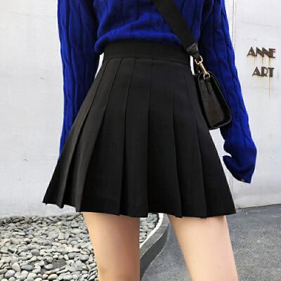 学院风高腰显瘦ins半身裙子女秋冬装新款韩版chic黑色百褶A字短裙 一般在付款后3-90天左右发货,具体发货时间请以与客服协商的时间为准